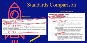 Standards comparison slide from the presentation on the 2019 social studies standards and the standards instructional tool